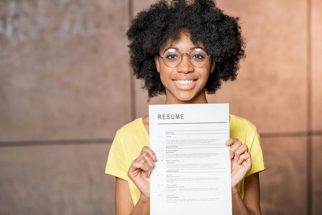 Girl Holding Resume